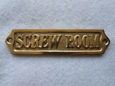 "Solid Brass ""Screw Room"" Door Sign ~ Nautical Boat Cabin Decor"