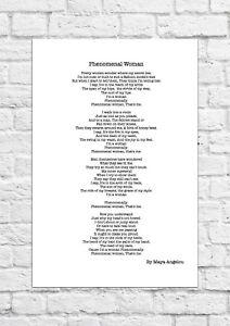 Phenomenal Woman by Maya Angelou - Poem - A4 Size