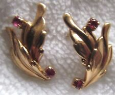 Ladies 14K Yellow Gold and Ruby Pierced Earrings