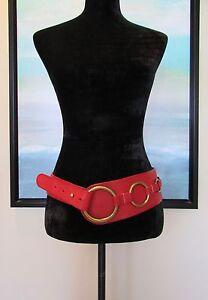 "Paul Smith London Wide Red Leather Corset Belt Sz M 32"" - 35"""