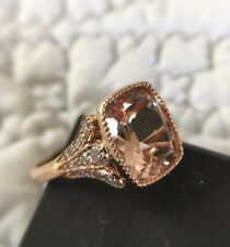 Gorgeous 4 Carat 14k Rose Gold Cushion Morganite Diamond Ring, Custom