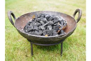 Kadai Fire Pit BBQ Wood Burner Garden Camping Stove Planter Plant Pot 25-30cm