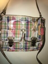 NEW Coach Poppy Madras plaid tote , Gold Leather Trim