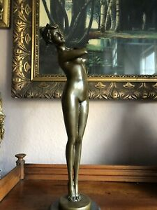 🎈Bronze Akt Junges Mädchen Figur Im Jugendstil Art Deco Signiert