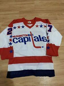 Retro 1980's Mulvey Washington Capitals Maska CCM Hockey Jersey Home White Small