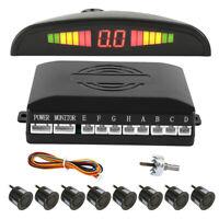 LED Display Car Reverse 8 Front Rear Parking Sensors System Buzzer Alarm Aid Set