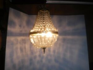 Vintage Crystal Chandelier - French Crown - 12 x 20 - Swag Long Chain - 3 Bulb
