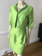 Women Anna Molinari Dress and Jacket Light Green with Floral Embroidery