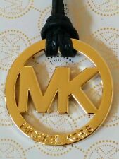 New Michael Kors MK Logo Gold Charm / Black Saffiano Leather Strap Hang Tag Fob