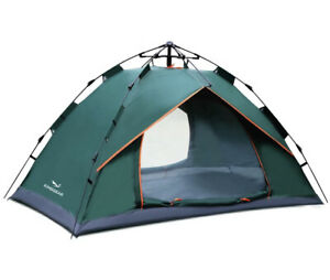 Camping Tent 3-4 Person Backpack, Auto Pop-Up 2 Doors UV & Waterproof Polyester