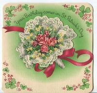VINTAGE ST PATRICK'S DAY PINK ROSES LACE NOSEGAY GREEN GLOVER ART GREETING CARD