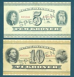 Rare Denmark Specimen 5 & 10 Kroner Set Specimen #524, Pick 42a, Pick 43d 1952