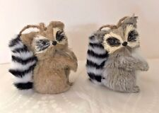 2017 Katherine's Collection Set of 2 Fuzzy Tail Raccoon 4 in Ornaments 10-752891