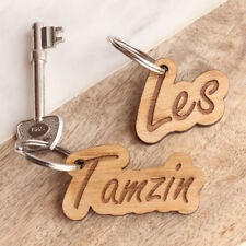 Personalised Engraved Wooden Keyring Name, Novelty Gift Name Tag, Birthday Gifts