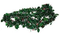 9' Very Festive Christmas Tree Tinsel Garland in bright Green Red & White decor!