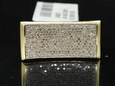Diamond Pinky Ring Mens 10K Yellow Gold Round Pave Rectangle Design 0.68 Tcw.