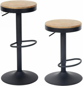 YOUNIKE Set of 2 Bar Stools,Solid Wood, Breakfast Chair, Vintage high Black