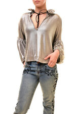 One Teaspoon Women's Authentic Relaxed Fit Top Silver Size S RRP $115 BCF85