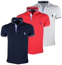Polo uomo manica corta slim fit maglietta bianco rosso blu M L XL XXL RDV