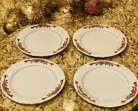 "SET OF 4 CHRISTMAS POINSETTIA & RIBBONS FINE CHINA SALAD / DESSERT PLATES 7 1/2"""