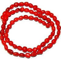 CRL146 Red Bamboo Coral Small 6mm Polished Freeform Pebble Beads 16""