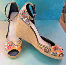 Tommy Hilfiger Paisley Print Ankle Strap Peep Toe Espadrille Wedges Wms 9.5 NEW