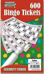 Jumbo Bingo Book Pad of 600 Tickets 6 To View All Colours Security Coded - New