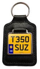 T350 SUZ Reg Numéro Plaque Porte-clés en Cuir Cadeau pour SuzuKi T350 Owners NOS