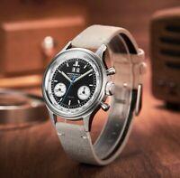 New Fashion MERKUR Panda 1963 Mechanical Watch Chronograph Army Pilot Wristwatch