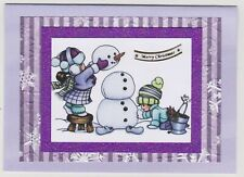Blank Handmade Greeting Card ~ MERRY CHRISTMAS with CHILDREN MAKING SNOWMAN