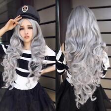 Fashion Women Stone gray Long Curly Wavy Hair Full Cosplay Lolita Party Wig