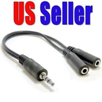 3.5mm Stereo Audio Male to 2 Female Headphone Splitter Cable Adapter US Seller!