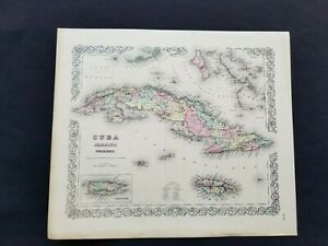 1855 Colton Atlas Genuine Antique Rare Map Bahamas Cuba Florida Keys Jamaica