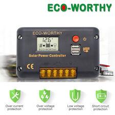 20A Solar Panel Battery Regulator Dual USB 12V 24V LCD Charge Controller