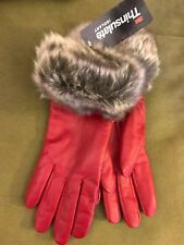 Luxe Lamb Leather Red Gloves with Faux Fur Trim