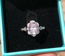 Gold Ring Vintage Milgrain Sz 6.75 2ct 7x9mm Oval Pink Moissanite 14k White