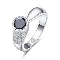 Unique Exquisite Fashion White Topaz & Black Spinel Gemstone Silver Women Ring