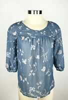 LC Lauren Conrad Petite PXS Blue Butterfly 3/4 Sleeve Swiss Dot Peasant Top