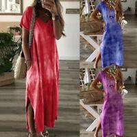 Women Summer Loose Casual V Neck Short Sleeve Cotton Slit Up Long Maxi Dress