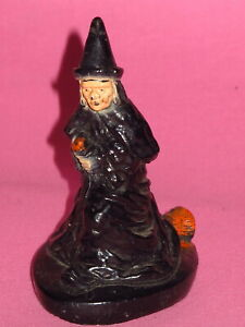 """Primitive Halloween Decoration - 4"""" Wicked Witch on Broom"""