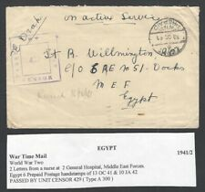 Egypt WW2 1941 Military cover with letter from a Nurse at #2 General Hospital