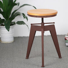 Vintage Metal Height Adjustable Swivel Bar Stool Pub Kitchen Dining Chair C0I7
