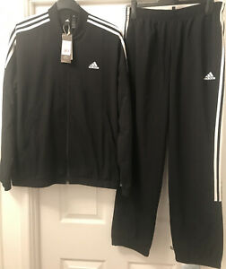 ADIDAS Tracksuit WOVEN Mens 3 STRIPE In Black Size Large Brand New