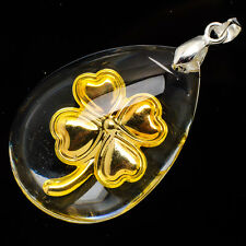 "24K Yellow Gold .999 Teardrop Four Leaf Clover Crystal Pendant 1 1/2"" Jewelry"