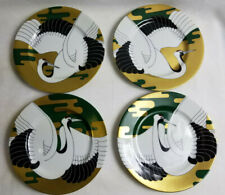 "4 Golden Tancho Stork Fitz & Floyd Salad Plate Bird Collector 7.5"" Discontinued"