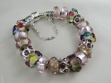 """925 SILVER STAMPED 20cm EUROPEAN STYLE CHARM BRACELET  """" VERY SERIOUS BLING """""""