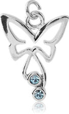 NEW Rhodium Plated Brass Jeweled Butterfly Charm Aussie Seller Free Delivery