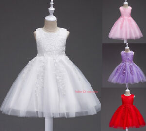 Kids Girl Baby Flower Princess Dress Party Pageant Prom Wedding Bridesmaid Dress