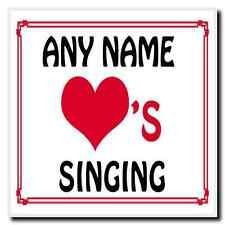 Love Heart Singing Personalised Coaster