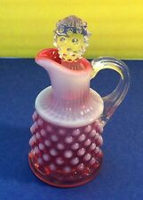 Rare Hobnail Cranberry Opalescent Oil Cruet with Clear Ground Glass Stopper